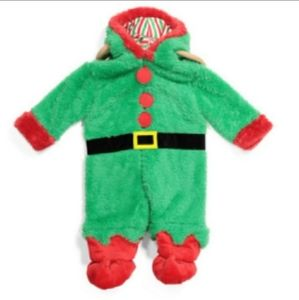 FAO Schwarz Baby Green Red Elf One Piece Outfit 12